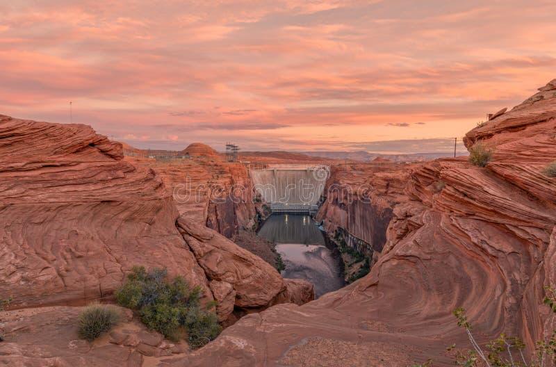 Glen Canyon Dam Sunrise immagine stock