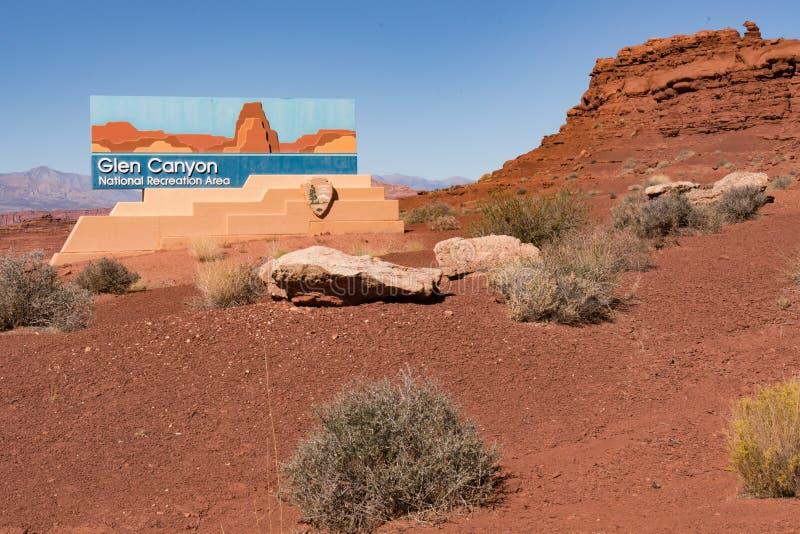 Glen Canyon National Recreation Area tecken arkivbilder