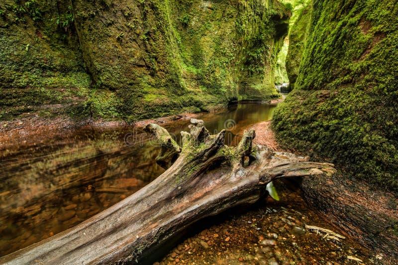 Glen Finnich in Scotland. Glen Finnich, Devil`s Pulit. Famous place near Glasgow royalty free stock photo