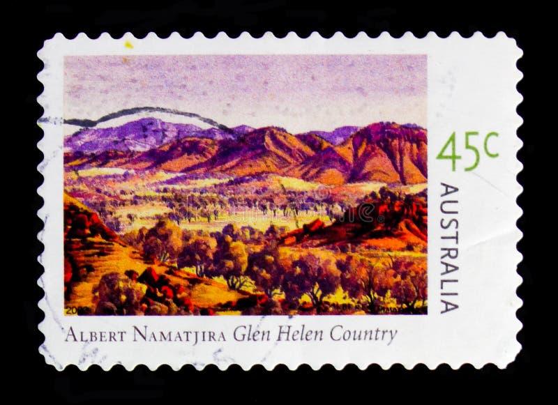 Glen Helen Country, serie de Albert Namatjira, circa 2002 imagen de archivo libre de regalías