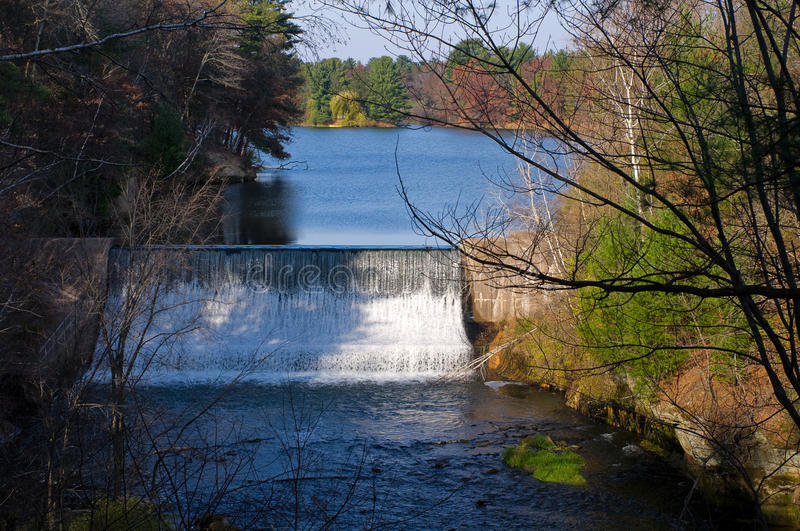 Glen Loch Dam in Chippewa Falls. Overlooking Glen Loch Dam and Duncan Creek at Irvine Park in Chippewa Falls Wisconsin royalty free stock images