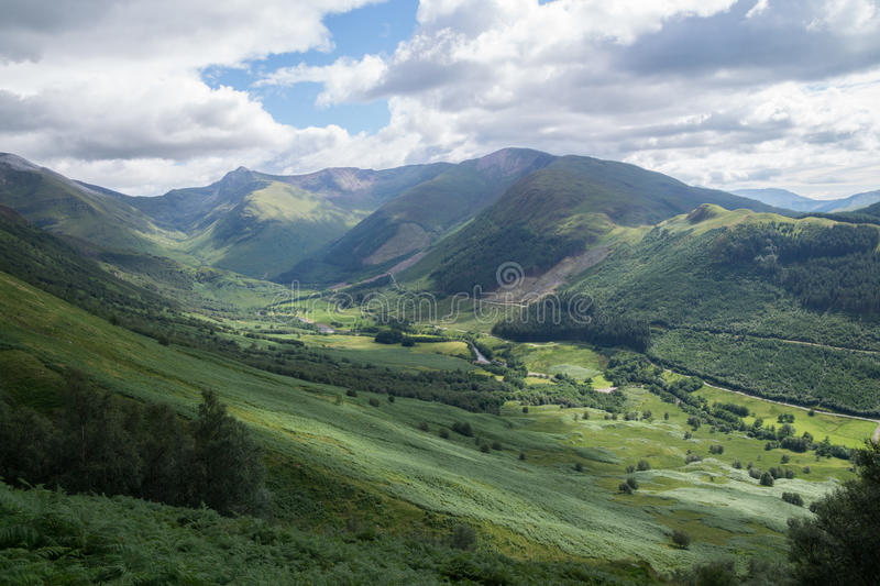 Glen Nevis, Fort William, Scotland. The beautiful valley of Glen Nevis near Fort William, Scotland, seen from the hiking path to Ben Nevis royalty free stock images