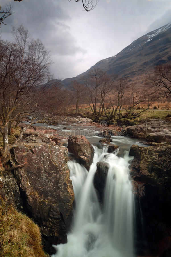 Glen nevis lower falls. This is one of the lower water falls of the waters of nevis. It is situated on the side of Ben Nevis, the highest mountain in Scotland stock photo