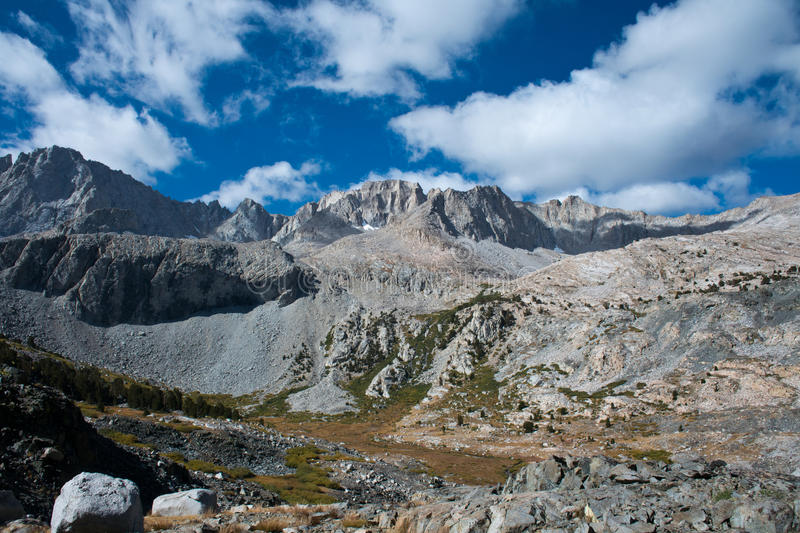 Glen Pass on the John Muir Trail. View from top of Glen Pass on the John Muir Trail in the Kings Canyon National Park royalty free stock photo