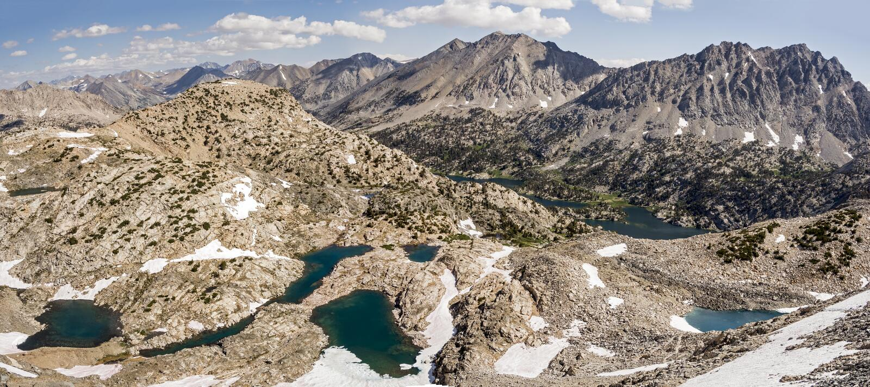 Glen Pass Northern Panorama, parque nacional dos reis Garganta fotos de stock royalty free