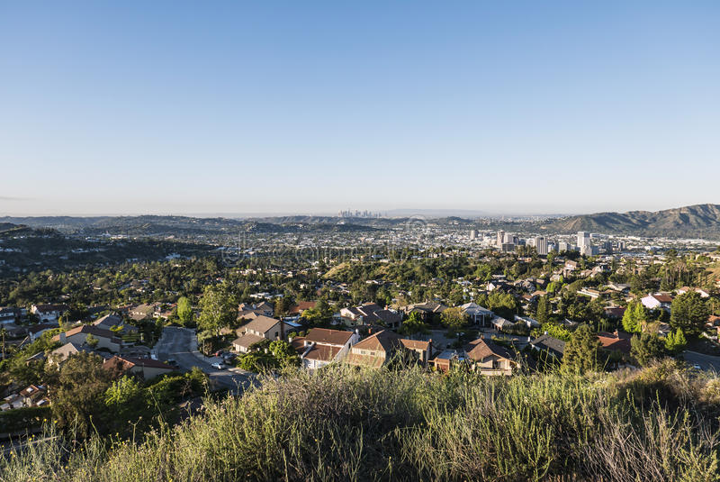 Glendale California Morning View. Glendale California morniing view towards downtown Los Angeles royalty free stock images