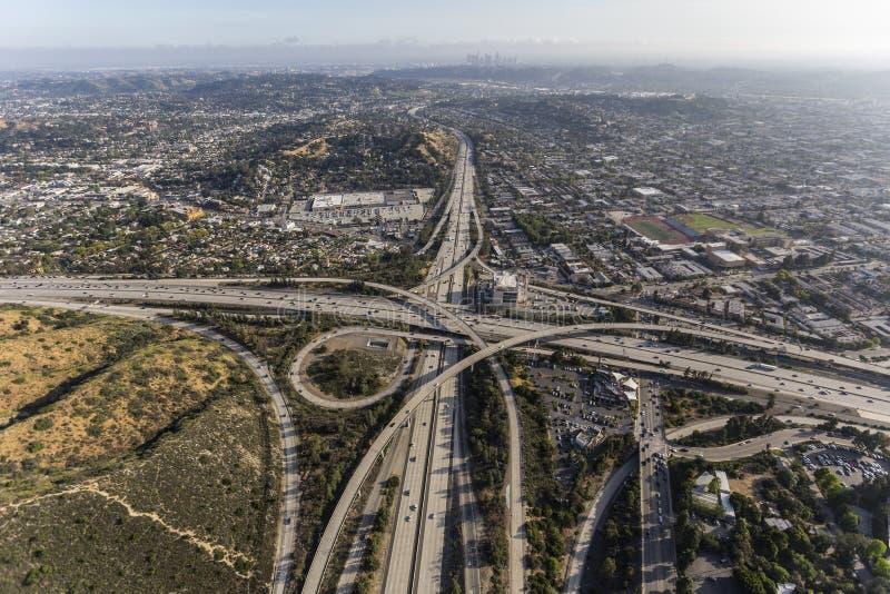 Glendale en Ventura Freeways Interchange in Los Angeles stock afbeelding