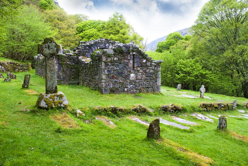 Glendalough.Ruins of the church,ireland royalty free stock photos