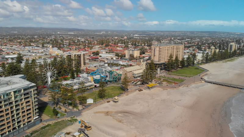 GLENELG, AUSTRALIA - SEPTEMBER 15, 2018: Aerial view of beautiful city skyline on a sunny day. Glenelg is a famous attraction near royalty free stock photography