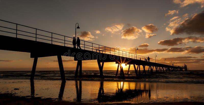 Glenelg Jetty at sunset. South Australia, Adelaide stock image