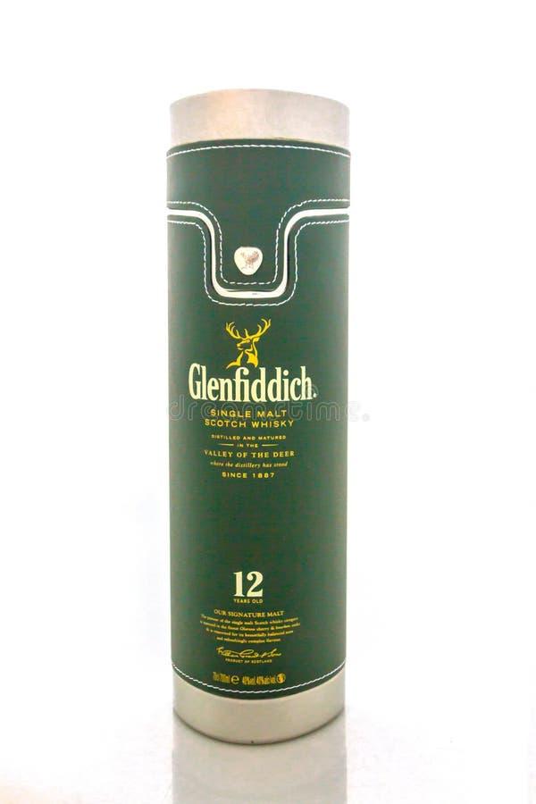 Glenfiddich 12 years old single malt scotch whisky in gift box, volume 0 7升 免版税库存图片