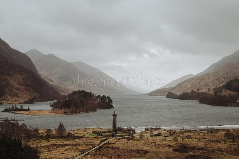 Glenfinnan monument scotland. Glenfinnan Monument was erected in 1815, in tribute to the Jacobite clansmen who fought and died in the cause of Prince Charles royalty free stock photography