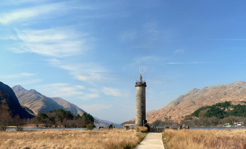 Glenfinnan Monument On The Shore Of Loch Shiel Royalty Free Stock Images