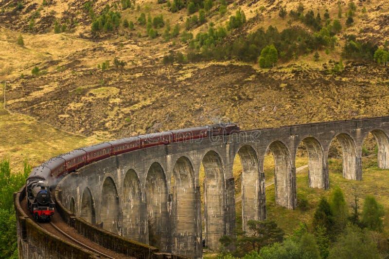 Glenfinnan Railway Viaduct Scotland Harry Potter steam train royalty free stock photos