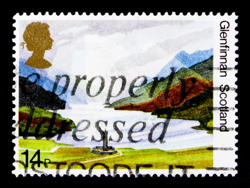 Glenfinnan, Scotland, 50th Anniversary of National Trust for Scotland - British Landscapes serie, circa 1981. MOSCOW, RUSSIA - OCTOBER 3, 2017: A stamp printed stock photos