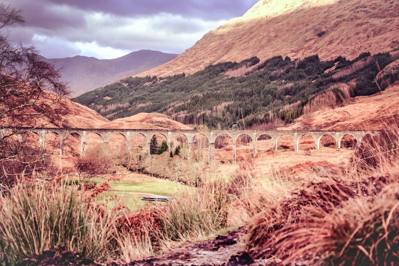 Glenfinnan Viaduct - Harry Potter movie viaduct in Scottish Highlands stock images