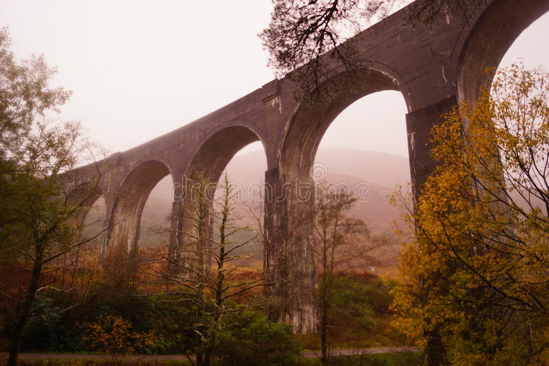 Glenfinnan Viaduct, Loch Sheil. Glenfinnan Viaduct, on the Western Highland Line, Glenfinnan, Scotland. This bridge is famous for being the bridge that the royalty free stock photography