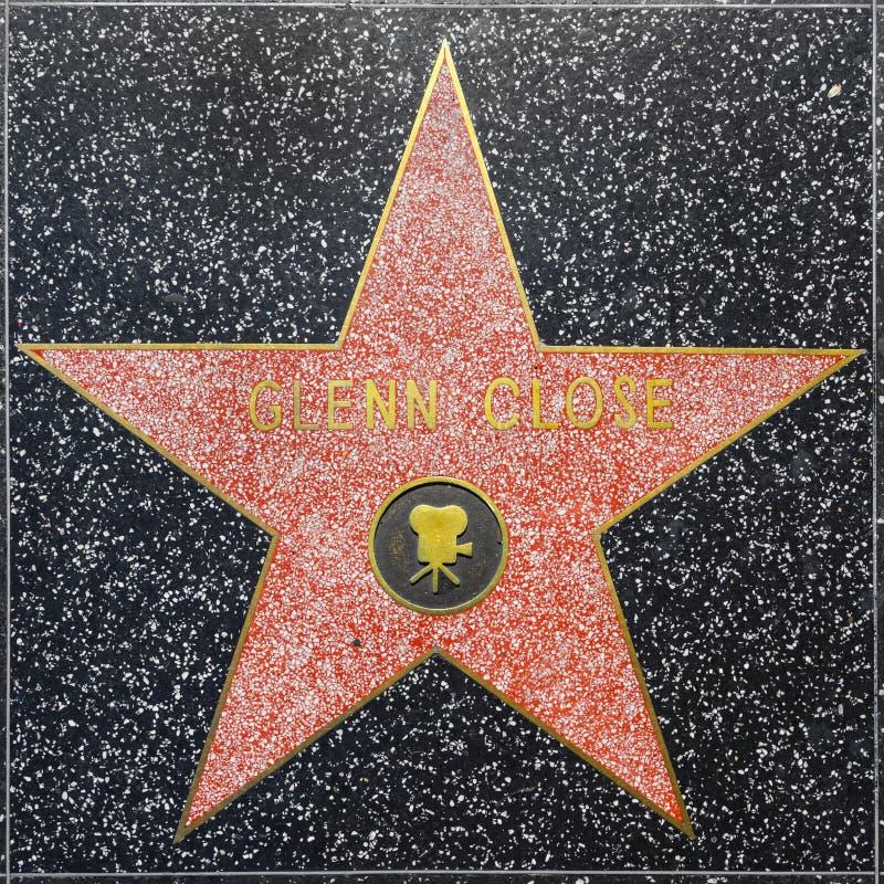 Glenn Closes-ster op Hollywood-Gang van Bekendheid stock foto's