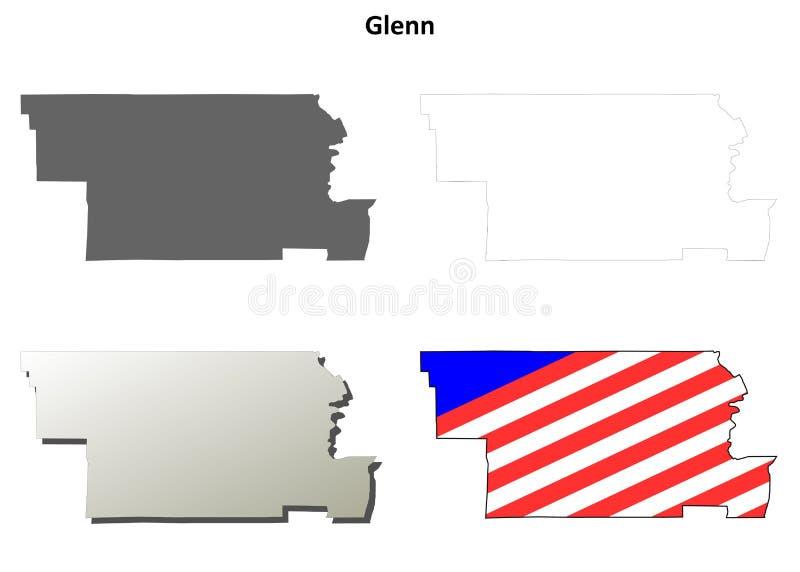 Glenn County, grupo do mapa do esboço de Califórnia ilustração stock