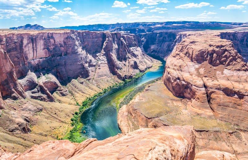 Glenn jar i Kolorado rzeka arizona bend podkowy człowiek notatnik strony usa Arizona atrakcje turystyczne obraz stock