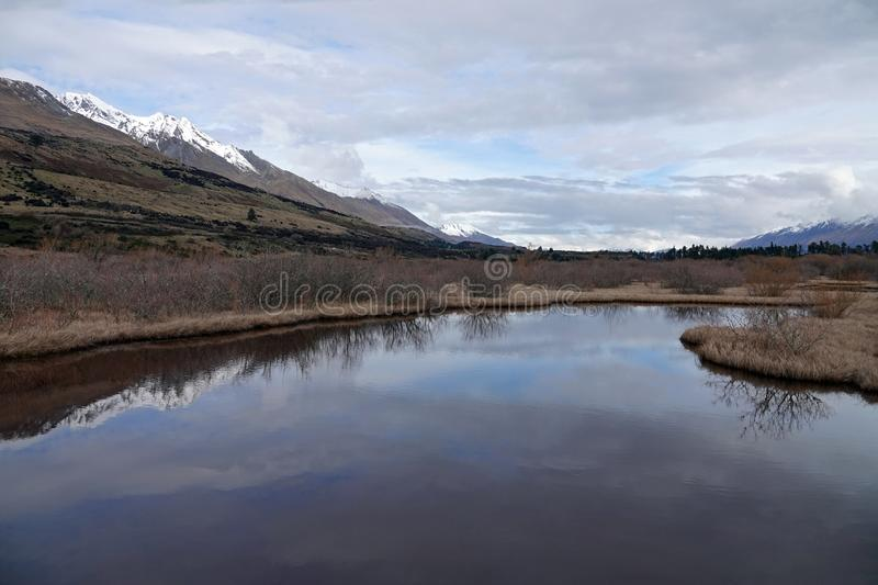 Glenorchy Lagoon Lake in New Zealand. `The Dead Marshes` in the Lord of The Rings trilogy on a winter day in Glenorchy on the South Island of New Zealand royalty free stock photos