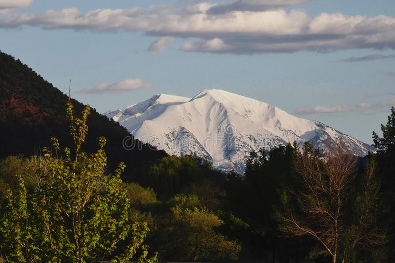 Snow Covered Mount Sopris in May. Glenwood Springs, Colorado is a mountain resort town with beautiful views and outdoor activities.  Soak and relax in the hot royalty free stock images