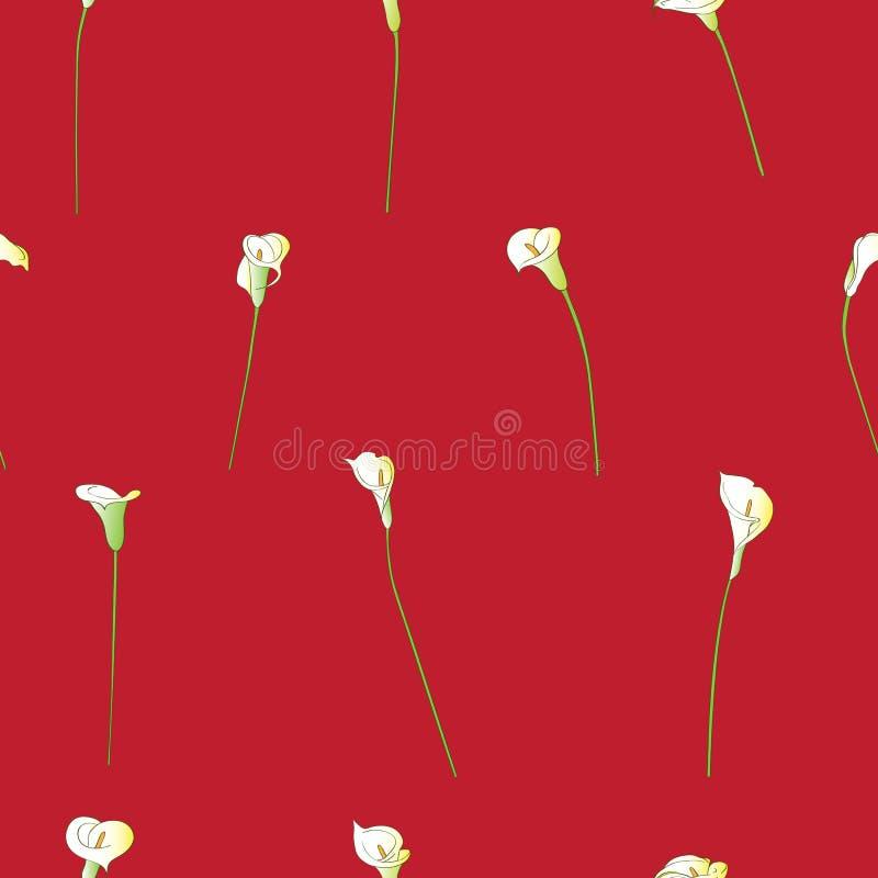 Gles modell för Calla på rött royaltyfri illustrationer