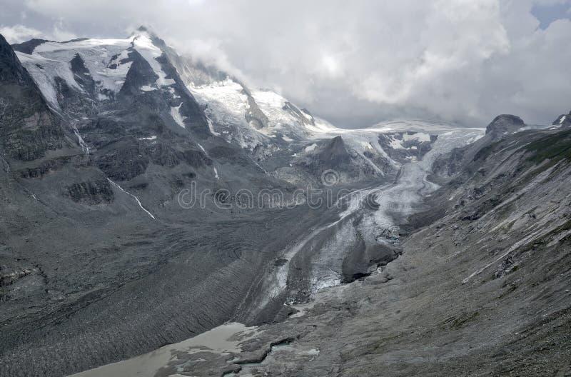 Gletscher-Panoramaschmelze Österreichs Pasterze stockbilder