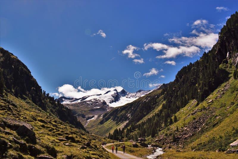 Gletscher und Tal Reichenbachspitze lizenzfreie stockfotos
