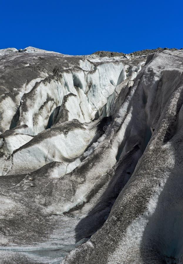 Gletscherspalten, Gorner-Gletscher während des Sommers lizenzfreies stockfoto