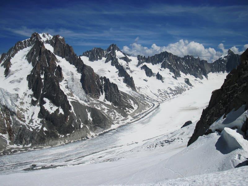 Gletsjer d'Argentière stock fotografie