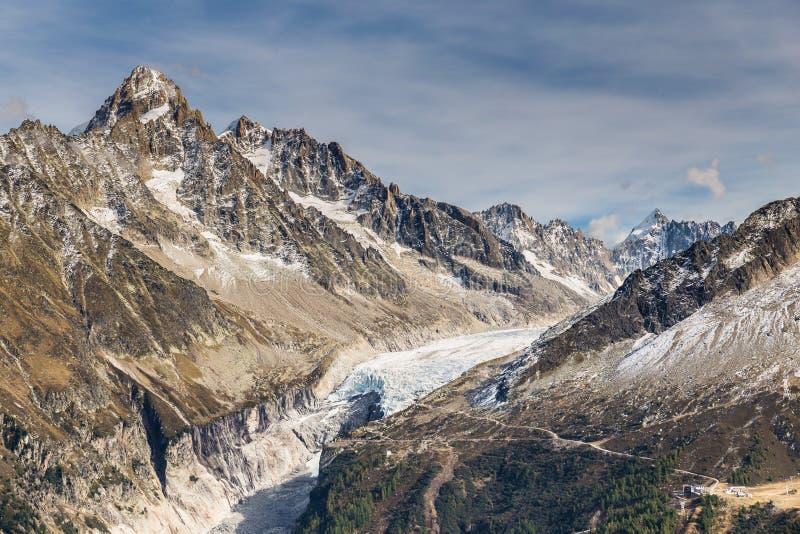 Gletsjer D Argentiere en Berg waaier-Frankrijk royalty-vrije stock afbeelding