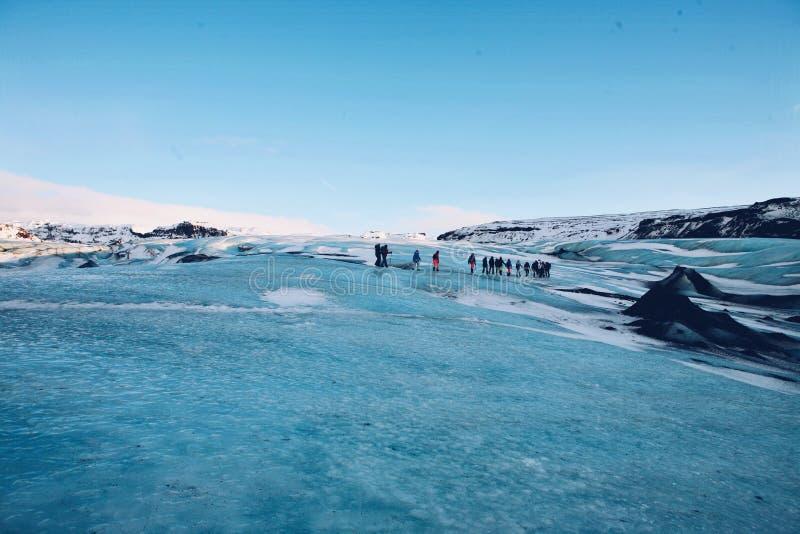 Gletsjer die, Solheimajokull wandelen stock foto's