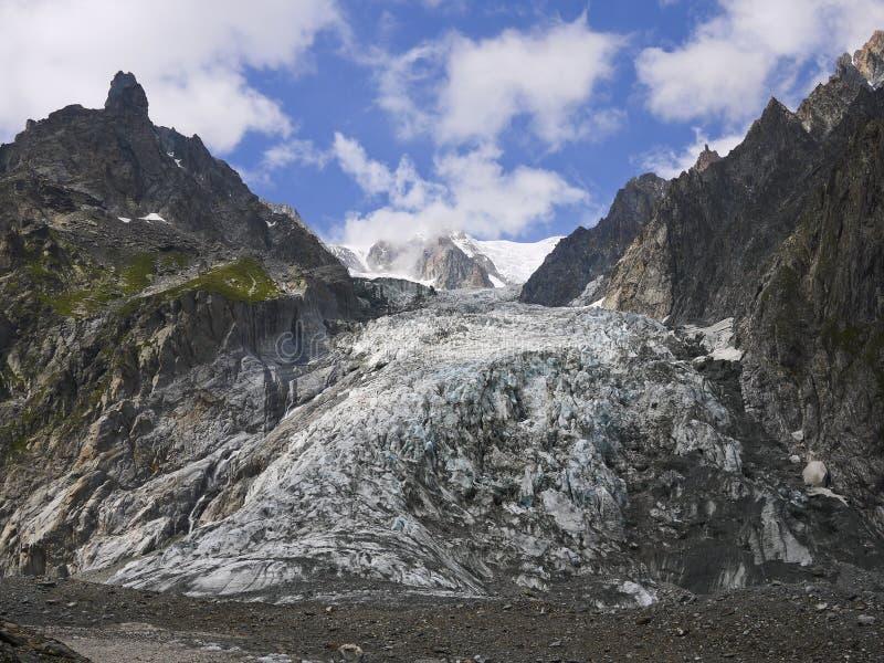 Gletsjer in het Onderstel complexe Blanc, Val Veny, de Bergen van Alpen royalty-vrije stock afbeeldingen