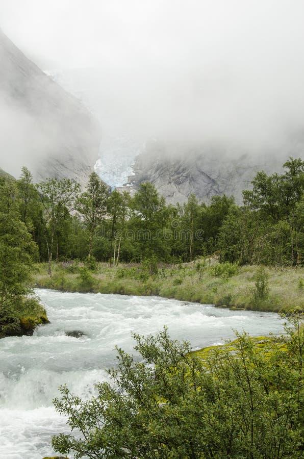 Gletsjer Noorwegen - Briksdal - Nationaal Park Jostedalsbreen royalty-vrije stock foto