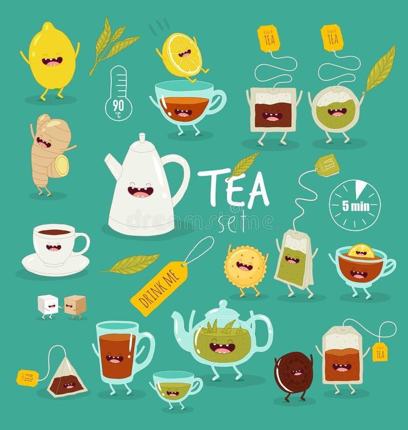 Gli accessori animati del tè invitano per bere il tè fotografia stock