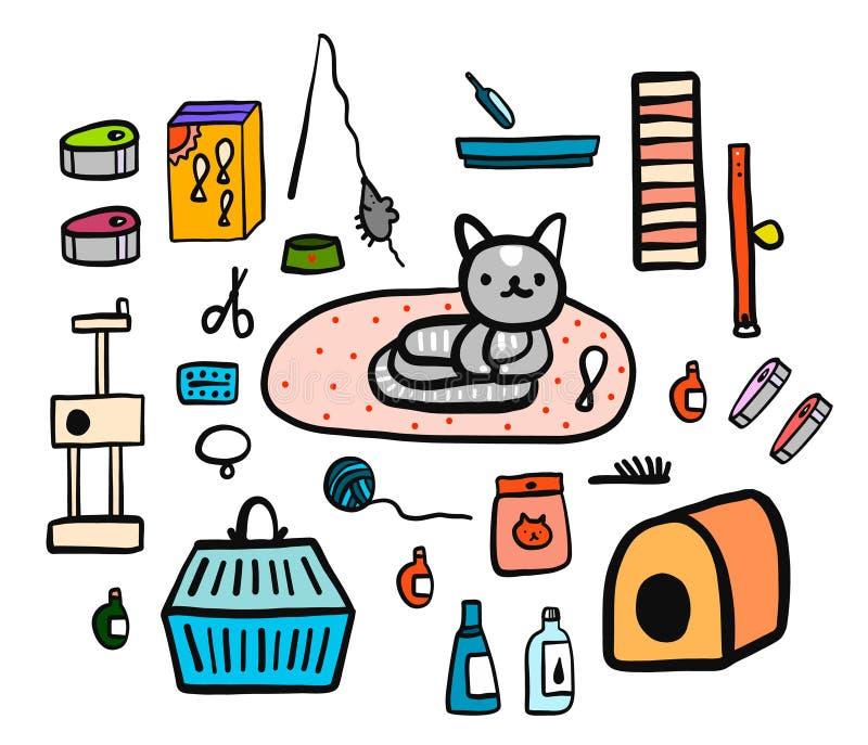 Gli accessori del gatto hanno fissato il minimalismo disegnato a mano dell'illustrazione per il promo e l'animale veterenary dell illustrazione vettoriale