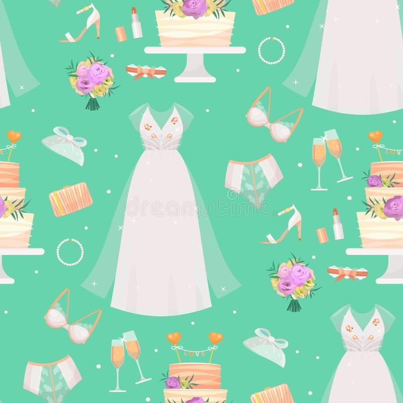 Gli accessori del vestito dalla sposa di nozze vector il ritratto accessorio della siluetta del fumetto della decorazione di schi illustrazione vettoriale