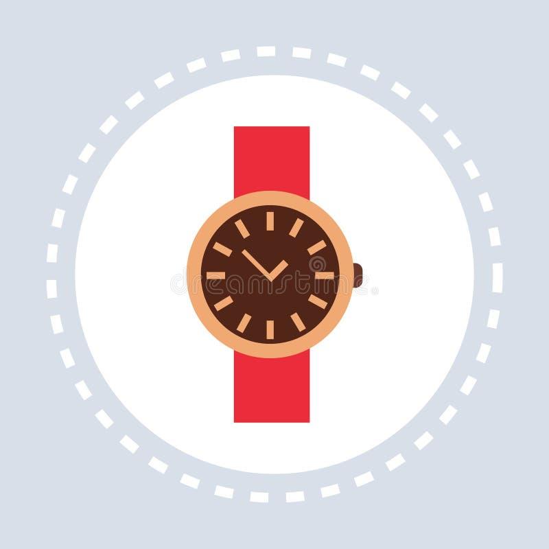 Gli accessori di modo di compera dell'icona dell'orologio elegante dell'orologio delle donne comperano piano di logo illustrazione di stock