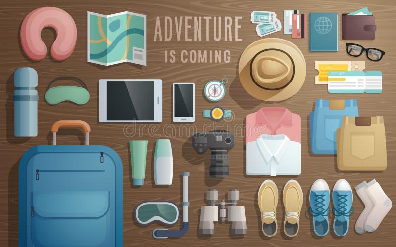 Gli accessori di viaggio hanno preparato per il viaggio su fondo di legno illustrazione vettoriale