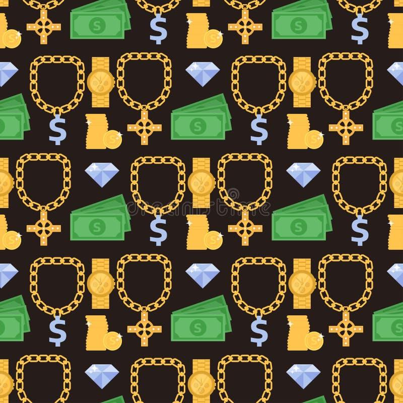 Gli accessori preziosi delle pietre preziose di vettore dell'oro dei gioielli adattano l'accessorio della collana di simbolo del  illustrazione di stock