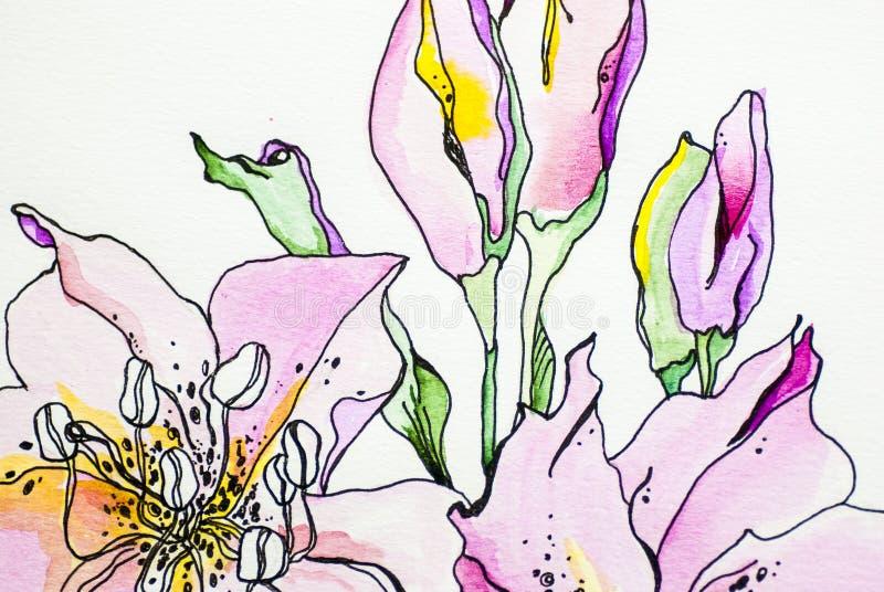 Gli acrilici grigi bianchi blu del fondo di struttura profonda di colore dell'acquerello del fiore lilly dipingono l'isolato di t illustrazione vettoriale