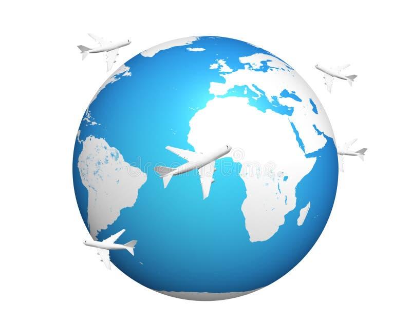 Gli aerei globali 3d di volo del pianeta Terra rendono Elementi di questo im illustrazione vettoriale