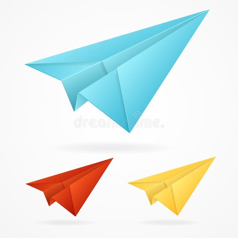 Gli aeroplani blu della carta di origami di vettore hanno messo su bianco illustrazione di stock