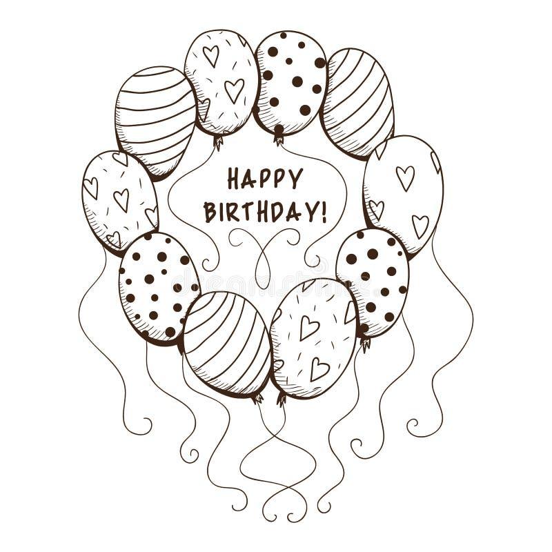 Gli aerostati incorniciano con testo per la festa di compleanno royalty illustrazione gratis