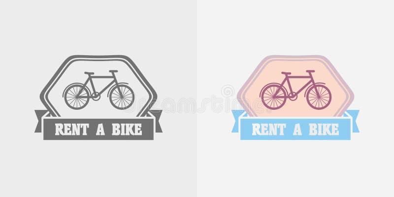 Gli affitti della bici vector il logo, identificano o badge la progettazione illustrazione vettoriale