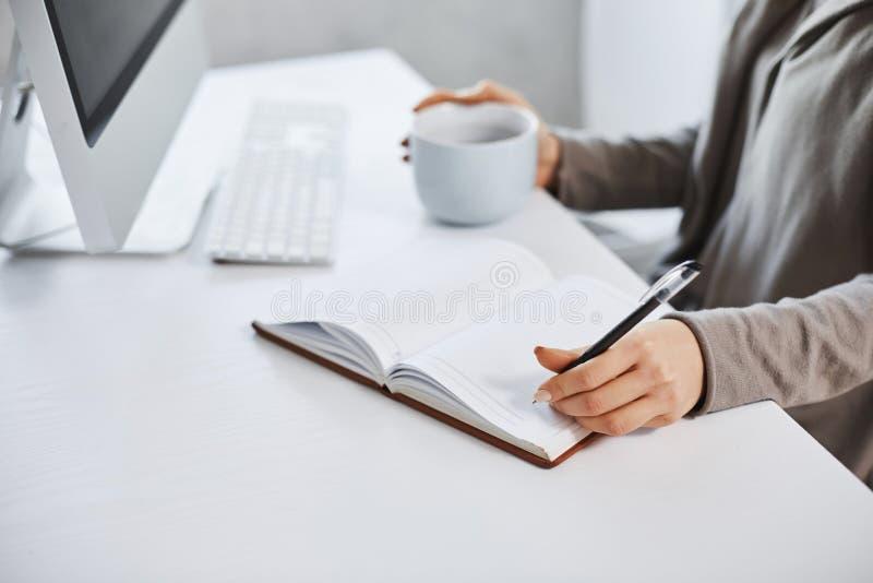 Gli aiuti di programma mantengono il mio giorno Colpo potato della donna che lavora davanti al computer, scrivendo nel taccuino e fotografia stock libera da diritti