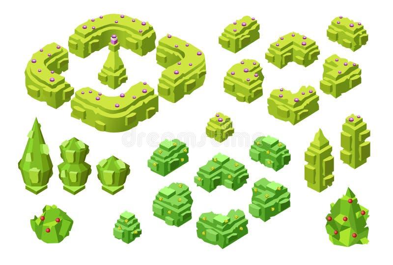gli alberi 3D e le barriere isometrici vector l'illustrazione delle icone di plastica delle piante dell'albero della costruzione royalty illustrazione gratis