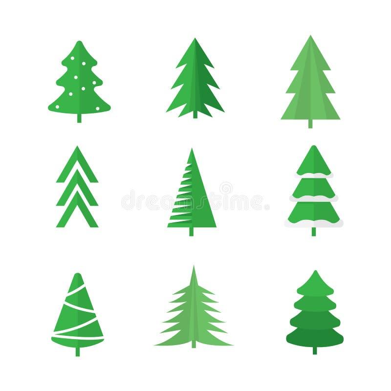 Gli alberi di Natale hanno impostato fotografia stock libera da diritti