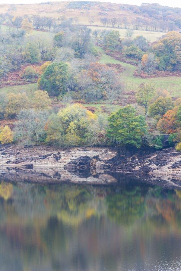 Gli alberi e la collina hanno riflesso in acqua, Autumn Fall fotografie stock
